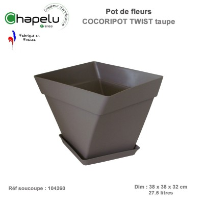Pot de fleur design Cocoripot Twist 38 x 38