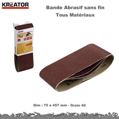 Lot 45 bandes abrasives sans fin 75 x 457 mm