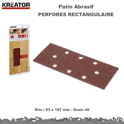 Lot 100 Patins abrasifs rectangulaires 8 trous 93 x 187 mm