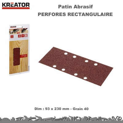 Patins abrasifs rectang. 8 trous Ov. 93 x 230 - pinces-  100 pces