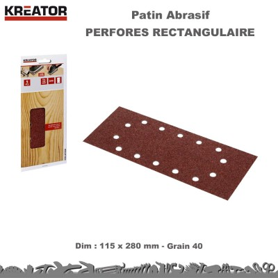Patins abrasifs rectang. 14 trous 115 x 280 - pinces - 75 pces