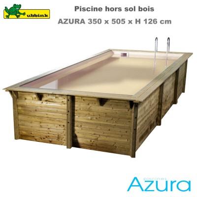 Piscine bois Azura 350 x 505 - H126cm - liner beige