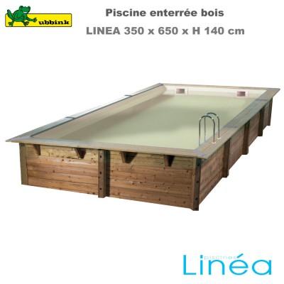 Piscine bois Linea 350 x 650 - liner beige