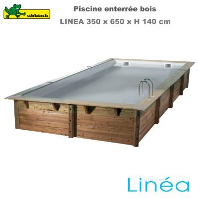 Piscine bois Linea 350 x 650 - liner gris