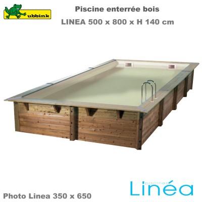 Piscine bois Linea 500 x 800 - liner beige