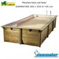 Piscine bois Sunwater 300 x 555 - H140cm - liner beige