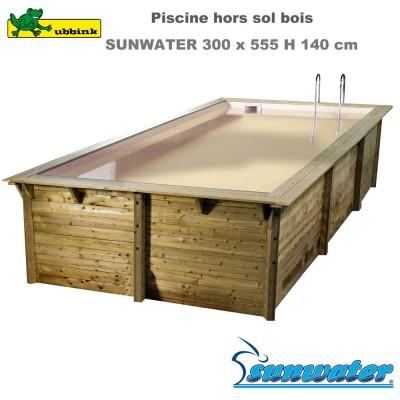 Piscine bois Sunwater 300 x 555 - liner beige