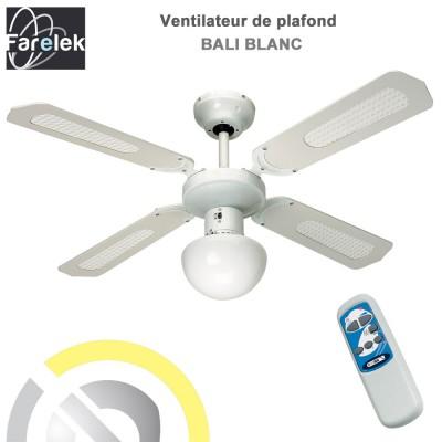 Ventilateur de plafond Bali blanc 107 cm