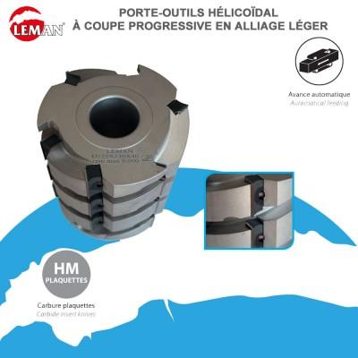 Porte outils hélicoïdale à coupe progressive en alliage léger