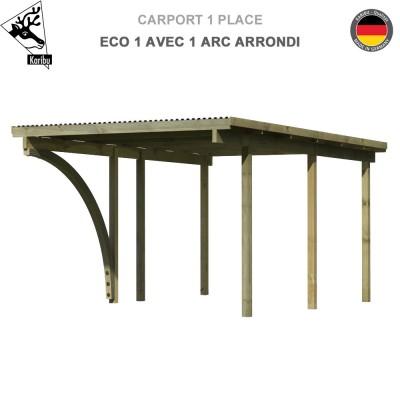 Carport 1 voiture Eco 1 avec un arc arrondi