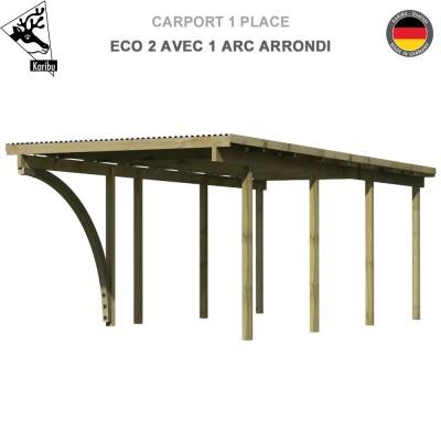 Carport 1 voiture Eco 2 avec 1 arc arrondi