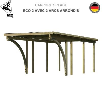 Carport bois 1 voiture Eco 2 avec 2 arcs arrondis