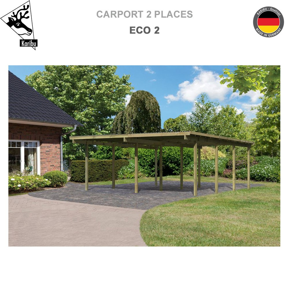 carport bois 2 voitures eco 2 62041 karibu a. Black Bedroom Furniture Sets. Home Design Ideas