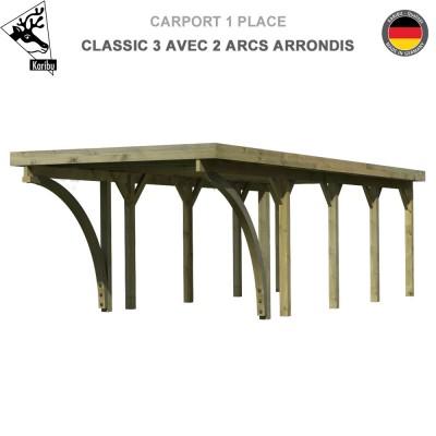 Carport bois 1 voiture Classic 3 avec 2 arcs arrondis - Toit Acier