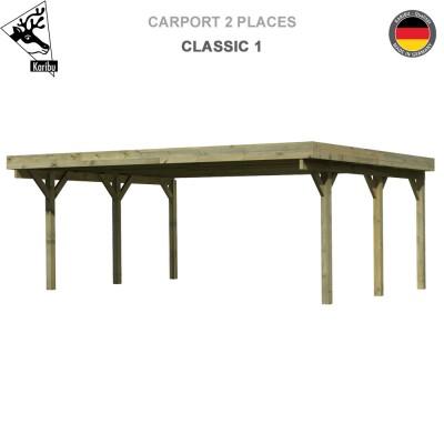 Carport bois 2 voitures Classic 1 - Toit Acier