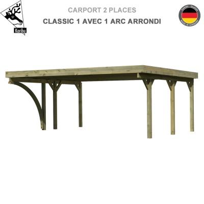 Carport bois 2 voitures Classic 1 avec 1 arc arrondi - Toit PVC