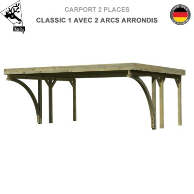 Carport bois 2 voitures Classic 1 avec 2 arcs arrondis - Toit PVC