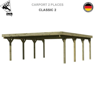 Carport bois 2 voitures Classic 2 - Toit Acier