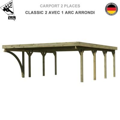 Carport bois 2 voitures Classic 2 avec 1 arc arrondi - Toit PVC