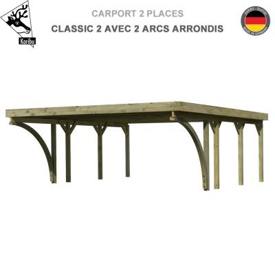 Carport bois 2 voitures Classic 2 avec 2 arcs arrondis  - Toit Acier