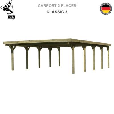 Carport bois 2 voitures Classic 3 - Toit PVC