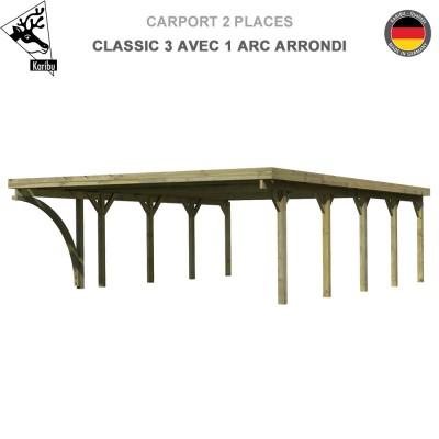 Carport bois 2 voitures Classic 3 avec 1 arc arrondi - Toit PVC