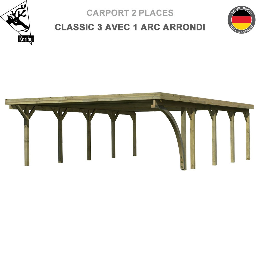 carport bois 2 voitures classic 3 avec 1 arc arrondi. Black Bedroom Furniture Sets. Home Design Ideas