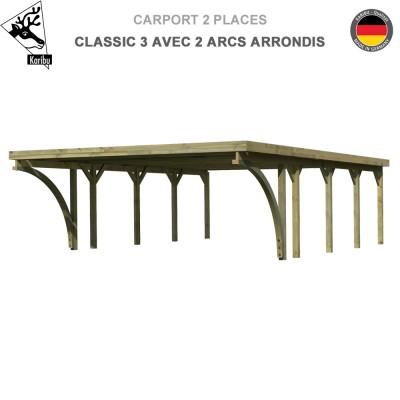 Carport bois 2 voitures Classic 3 avec 2 arcs arrondis - Toit Acier