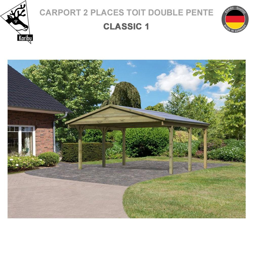 carport bois 2 voitures classic 1 toit double pente. Black Bedroom Furniture Sets. Home Design Ideas