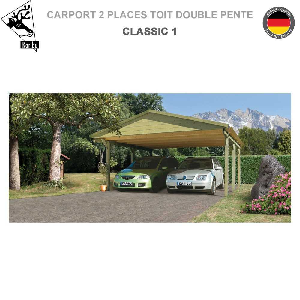 carport bois 2 voitures classic 1 toit double pente. Black Bedroom Furniture Sets. Home Design Ideas
