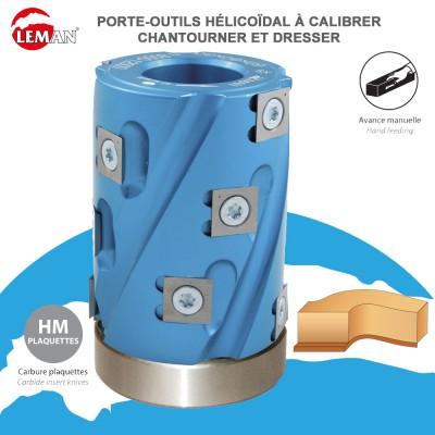 Porte outils hélicoïdale à calibrer, chantourner et dresser