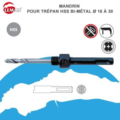Mandrin de trépan HSS bi-métal - 16 à 30 - perforateur