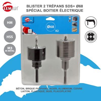Lot de 2 trépans SDS et HSS spéciale boitier électrique