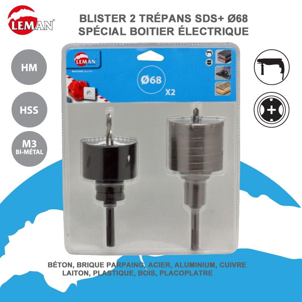 Diametre Scie Cloche Prise De Courant lot de 2 trépans - sds et hss spéciale boitier électrique 2.3864068