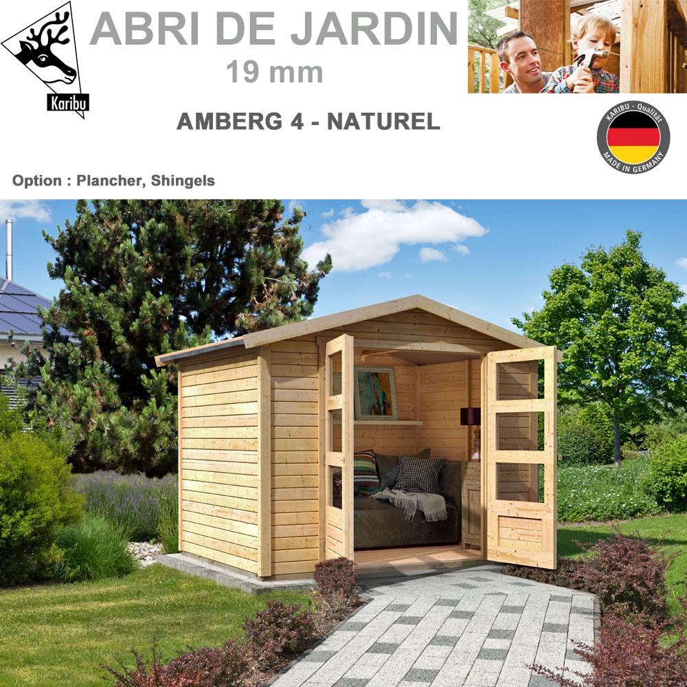 abri de jardin bois amberg 4 naturel 246x246 82973 karibu w. Black Bedroom Furniture Sets. Home Design Ideas