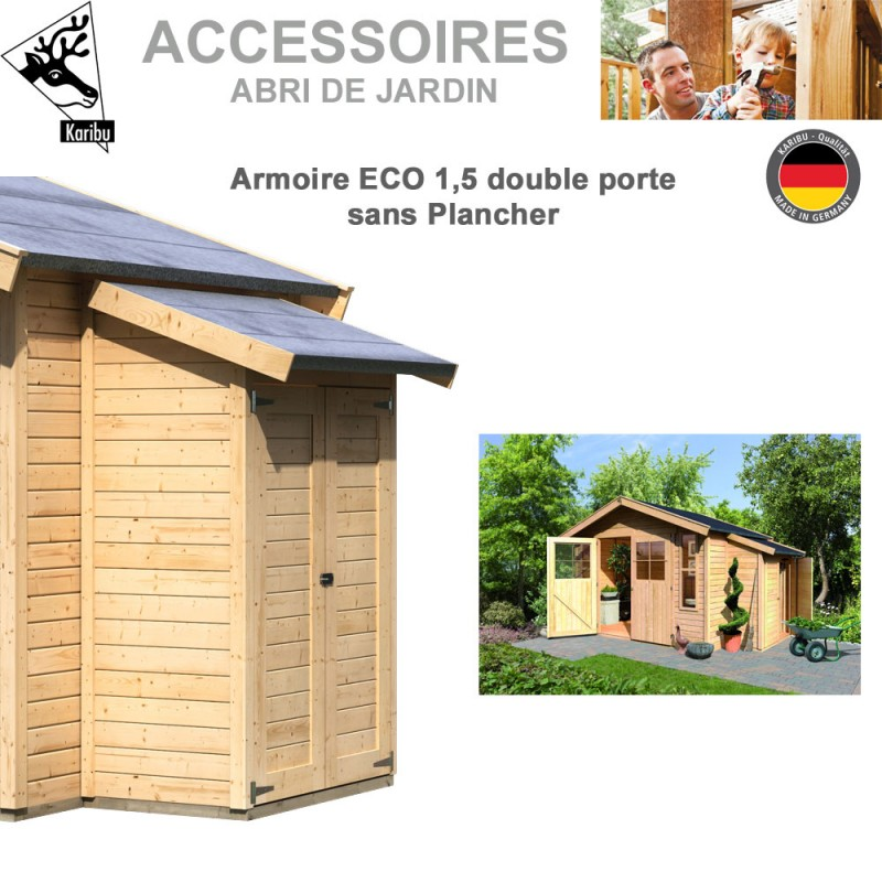 armoire modulaire eco 1 5 sans plancher pour abri de jardin 344 00. Black Bedroom Furniture Sets. Home Design Ideas