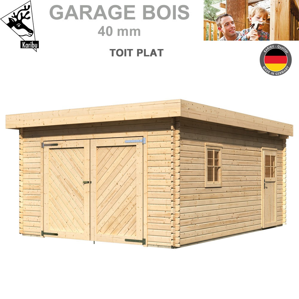 garage bois toit plat madrier 40 mm 68284 karibu a. Black Bedroom Furniture Sets. Home Design Ideas