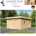 Garage bois toit plat madrier 40 mm