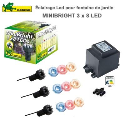 Eclairage pour fontaine de jardin MiniBright 3 x 8 LEDs