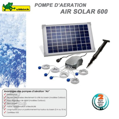 Pompe solaire d'aération bassin aquatique AirSolar 600