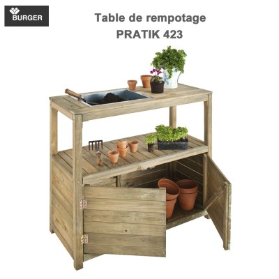 Table de jardinage rempotage 2 portes