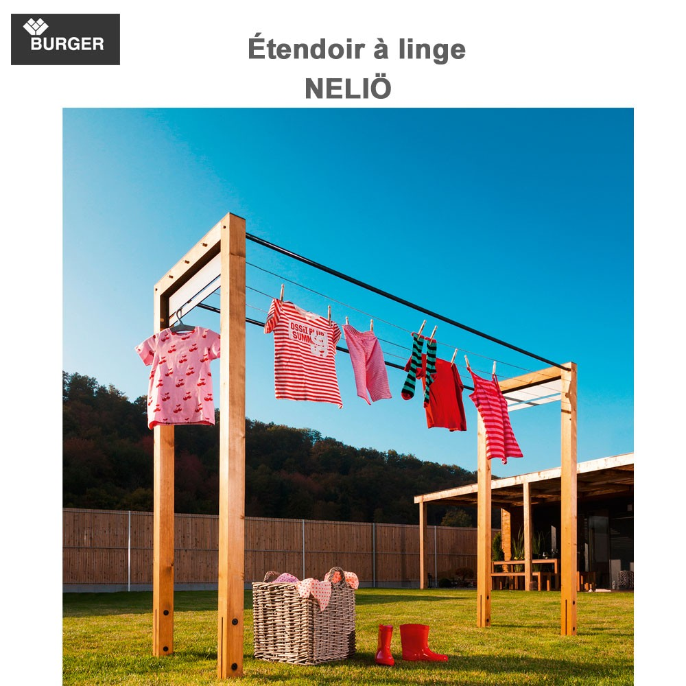 Tendoir linge d 39 ext rieur en bois neli 357 burger 8 for Etendoir linge exterieur bois