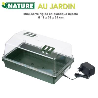 Mini serre d'intérieur chauffante - H 19 x 38 x 24 cm