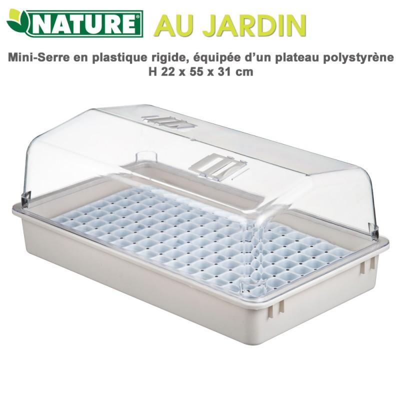 Mini serre d\'intérieur plateau polystyrène - H 22 x 55 x 31 cm