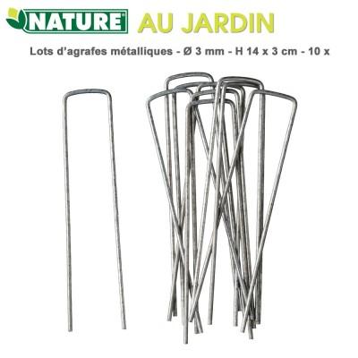 Agrafes métalliques H 14 x 3 cm - 10 pces