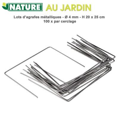 Agrafes métalliques H 20 x 25 cm - 100 pces