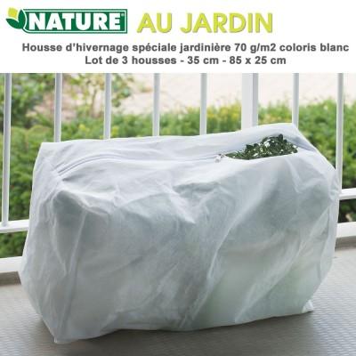 Housse d'hivernage spéciale jardinière H 35 cm - 85 x 25 cm - 3 pces