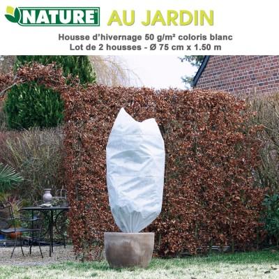 Voile d'hivernage 50 g/m2 coloris blanc Dia 75 cm x 1.5 m - 2 pces