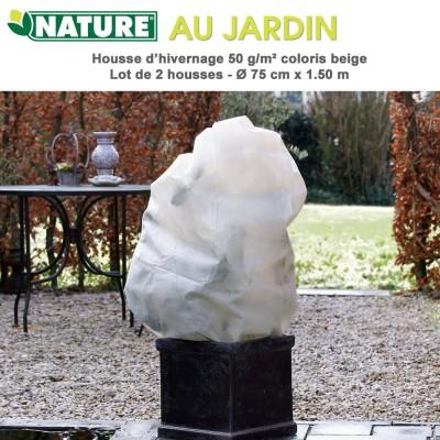Voile d'hivernage 50 g/m2 coloris beige Dia 75 cm x 1.5 m - 2 pces