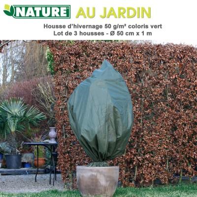 Voile d'hivernage 50 g/m2 coloris vert Dia 50 cm x 1 m - 3 pces